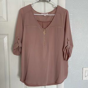 Tempted Long sleeve blouse - Size Large in pink